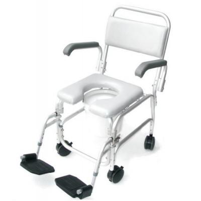 Cadeira banho e sanitária com rodas e patins
